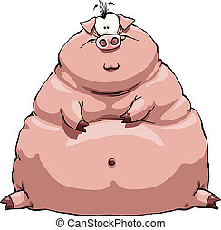 Fat pig - Thick pig on a white background, vector