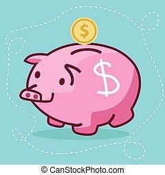 fat piggy bank coin insert drawing flat fun illustration pig character