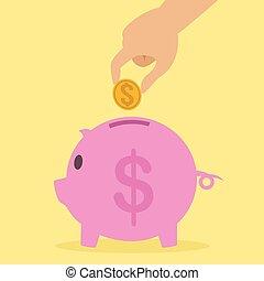 fat piggy bank coin insert drawing flat illustration pig
