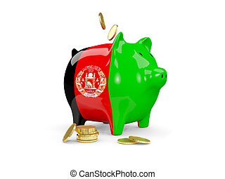 Fat piggy bank with fag of afghanistan
