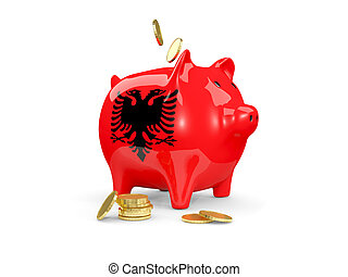 Fat piggy bank with fag of albania