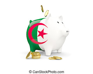 Fat piggy bank with fag of algeria