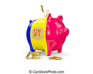 Fat piggy bank with fag of andorra
