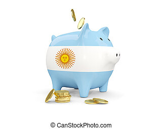 Fat piggy bank with fag of argentina