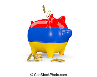 Fat piggy bank with fag of armenia