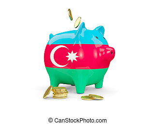 Fat piggy bank with fag of azerbaijan