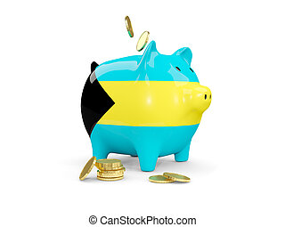 Fat piggy bank with fag of bahamas