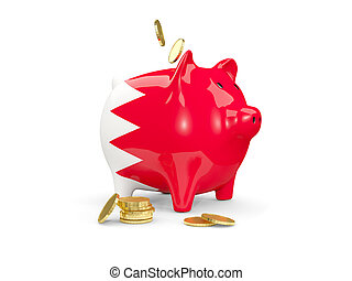 Fat piggy bank with fag of bahrain