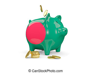 Fat piggy bank with fag of bangladesh