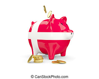 Fat piggy bank with fag of denmark and money isolated on...