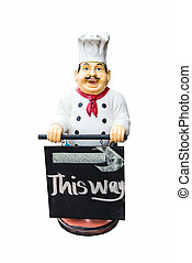 Fat plastic male chef doll holding a sign