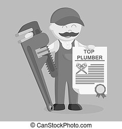 Fat plumber holding certificate and giant pipe wrench black and white style
