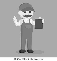 Fat plumber holding clipboard black and white style