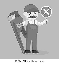 Fat plumber holding false sign and giant pipe wrench black and white style