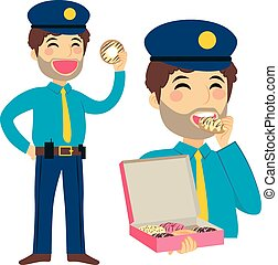 Fat Policeman Eating