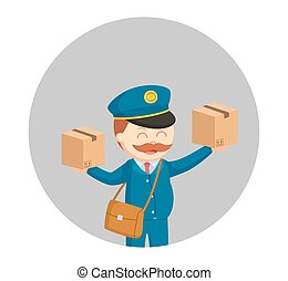 fat postman with two parcels in circle background