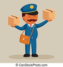 Fat postman with two parcels