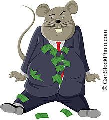 Fat Rat - Cartoon illustration of a fat rat with lots of...