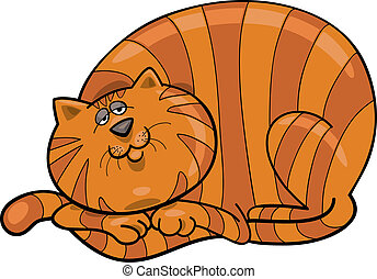 Fat red cat - Cartoon illustration of happy fat red cat