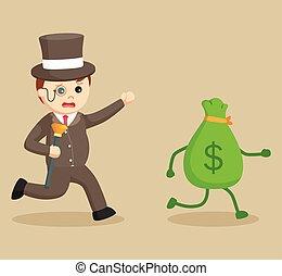 fat rich man chasing money