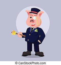 fat rich pig illustration design