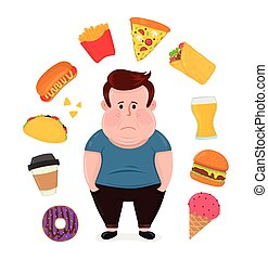 Fat sad young man surrounded by unhealthy