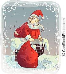 Fat Santa Stuck in the Chimney - Vector cartoon of a funny...