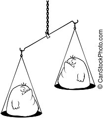 Fat Scales Cartoon Line Drawing