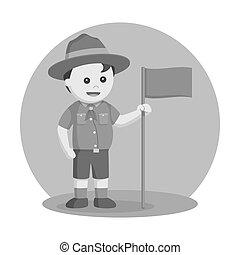 Fat scout boy with orange flag