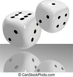 Fat Shiny Dice Roll a Lucky Seven - A pair of fat shiny dice...