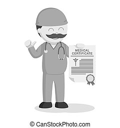 Fat surgeon showing his medical certificate