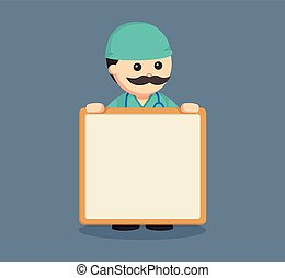 fat surgeon with empty board