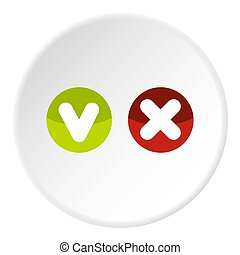 Fat tick and cross in circles icon circle