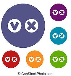 Fat tick and cross in circles icons set
