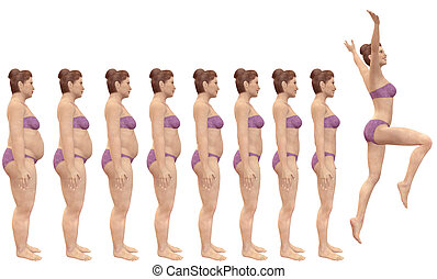 A woman diets from fat to fitness in before and after series of 3D renders