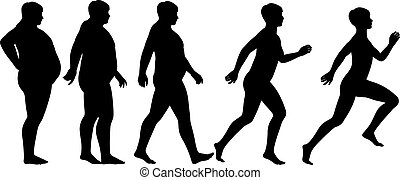 Fat to fit - Editable vector silhouette sequence of a man...