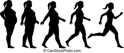 Fat to fit woman - EPS8 editable vector silhouette sequence...