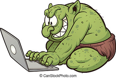 Fat troll - Fat internet troll using a laptop. Vector clip...