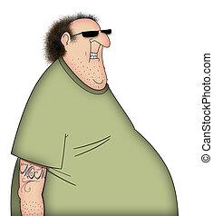 Fat TShirt Guy - Funny cartoon of a sloppy man in  T-Shirt