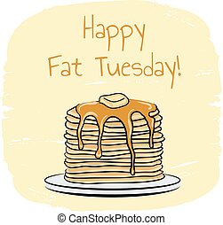 Fat Tuesday - Pancakes hand drawn illustration for Fat...