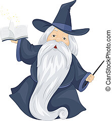 Fat Wizard - Illustration of a Fat Wizard Holding a Spell...