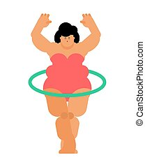 Fat woman and hulahup. Exercises for weight loss. fatso and...