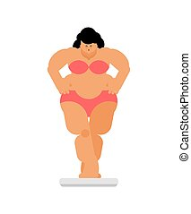 Fat woman and scales. Weight loss and diet