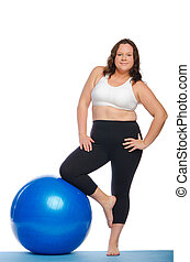 Fat woman doing fitness