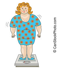 Fat woman in a dress standing on the scales. - A fat woman...