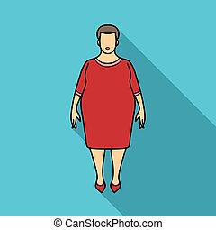 Fat woman in a red dress. A fat woman because of diabetes. ...