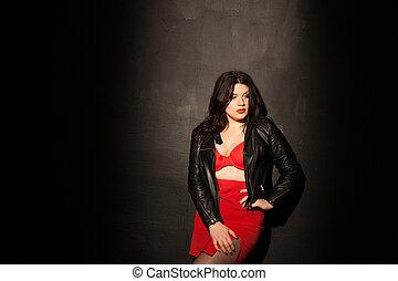 fat woman in red underwear