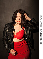 fat woman in red underwear