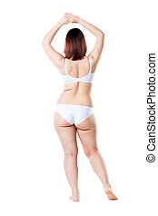 Fat woman in underwear isolated on white background, cellulite on female body