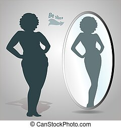 Fat woman looking in mirror and seeing herself as slim -...